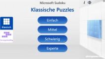 Microsoft Sudoku: Menu
